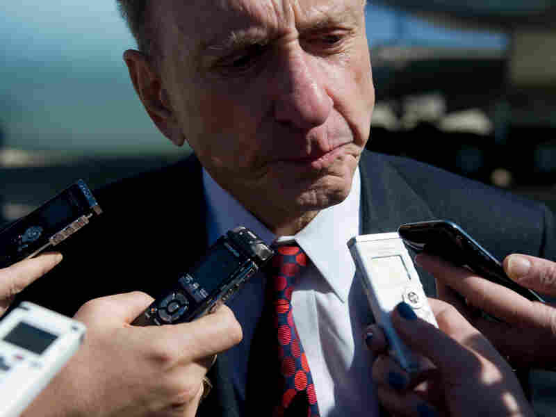 Sen. Arlen Specter speaks to the media on March 8.