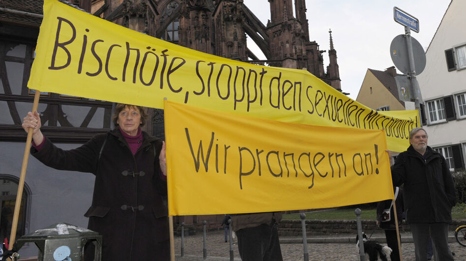 Protesters demonstrate against sexual abuse in the Roman Catholic Church at the beginning of the German Bishops Conference in Freiburg on Feb. 22. Anger at both the church and Pope Benedict XVI is rising in Germany as allegations of abuse continue to surface.