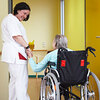 A patient and nurse in a nursing home