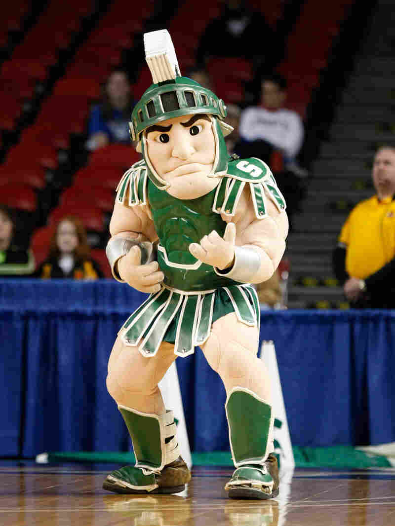 Sparty — the Michigan State mascot — is all puffed up and ready to go.