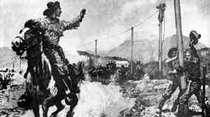 This painting depicts the last days of the Pony Express as telegraph lines were raised out West.