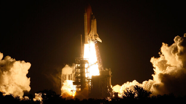Space Shuttle Discovery lifts off Monday from pad 39a at the Kennedy Space Center