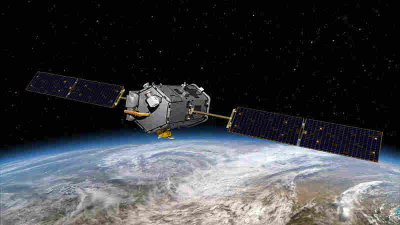 An illustration of the Orbiting Carbon Observatory satellite.