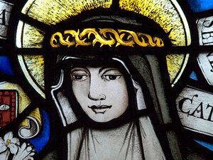 stained glass nun