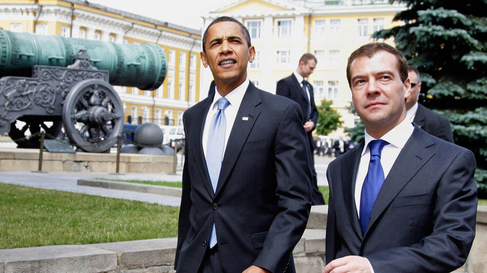 President Obama and Russian President Dmitry Medvedev during a summit last July at the Kremlin in Moscow. The two leaders will meet Thursday in Prague to sign a new Strategic Arms Reduction Treaty — START — an agreement that will cut the number of strategic warheads and missiles maintained by the world's two largest nuclear powers.