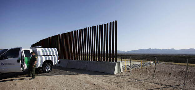 A U.S. Border Patrol sits at the end of the border fence at Fort Hancock, Texas, last month.