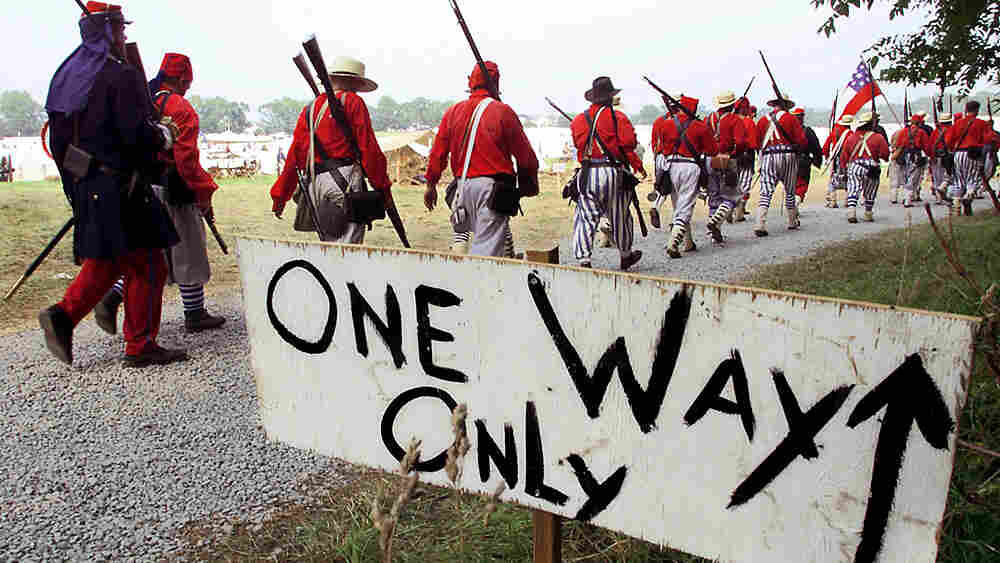 The Confederate Army 1st Louisiana Tiger Rifles march to camp during the First Manassas Civil War Re