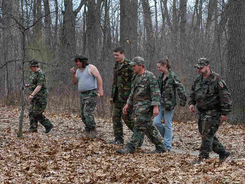 A local militia in the Detroit area, perform an exercise.