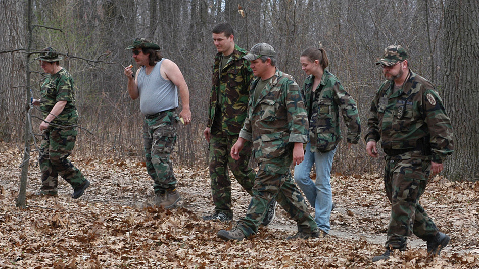 The local militia in the Detroit area, part of the umbrella group Southeast Michigan Volunteer Militia, perform an exercise.