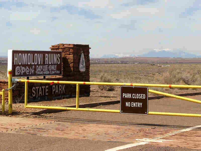 The main entrance to Homolovi Park, looking west toward Flagstaff and the San Francisco Peaks.