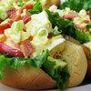 Shrimp and deviled egg salad roll. Travis Larchuk/NPR