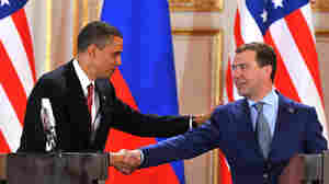 President Obama and Russian President Dmitri Medvedev in Prague. Yuri Kadobnov/AFP/Getty Images