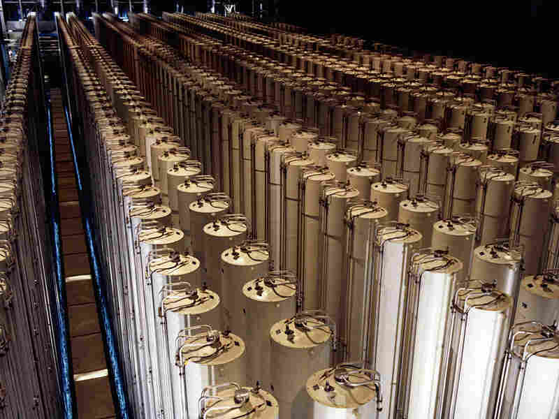 Cascade of gas centrifuges used to produce enriched uranium.