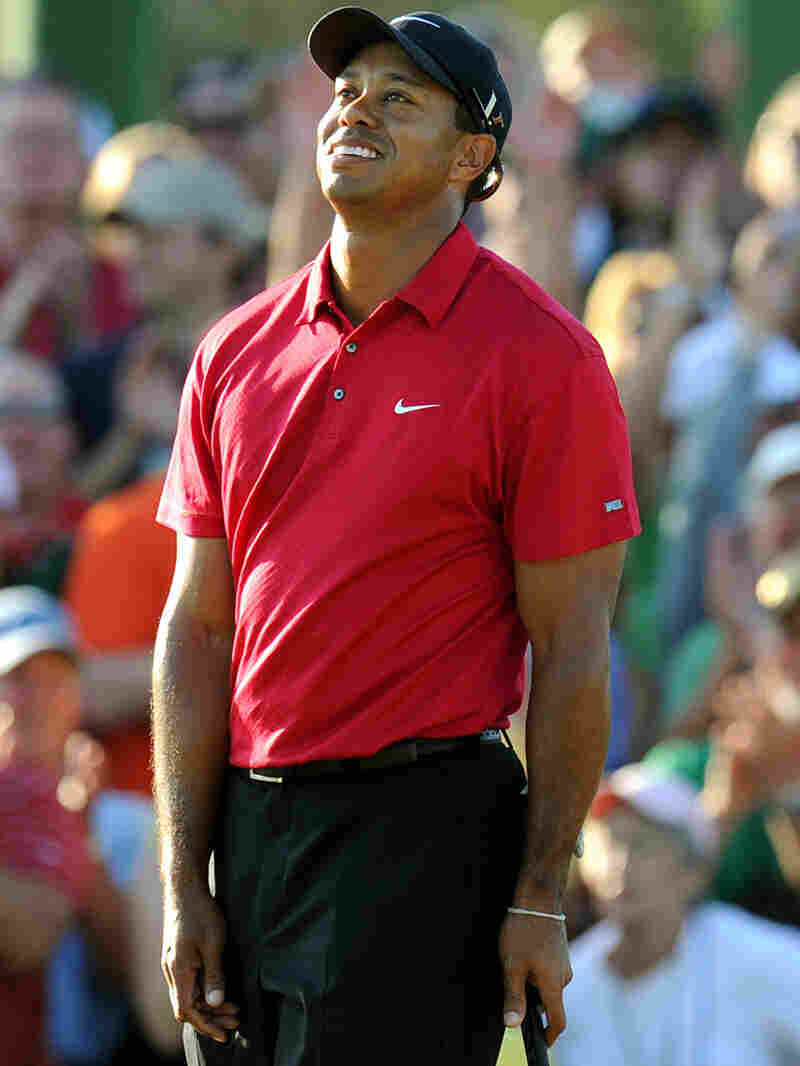 Tiger Woods participates in the 2010 Masters Tournament