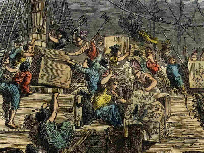Dressed as American Indians, a group of Bostonians boards a British ship laden with imported tea.