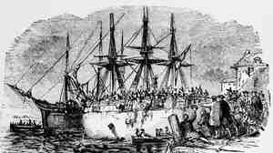 An old engraving depicts the Boston Tea Party of 1773