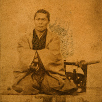 Here is an 1868 picture of a commander of the Shinsengumi.