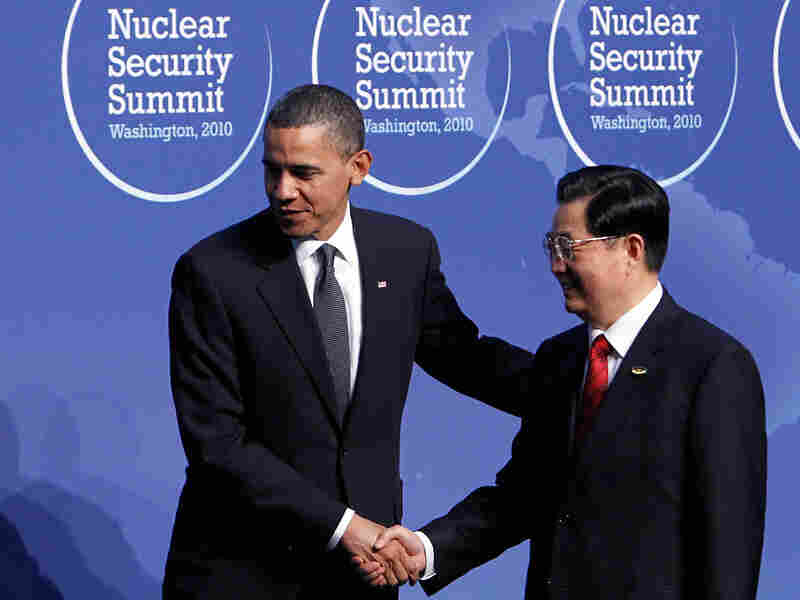 President Obama greets Chinese President Hu Jintao during the Nuclear Security Summit in Washington.