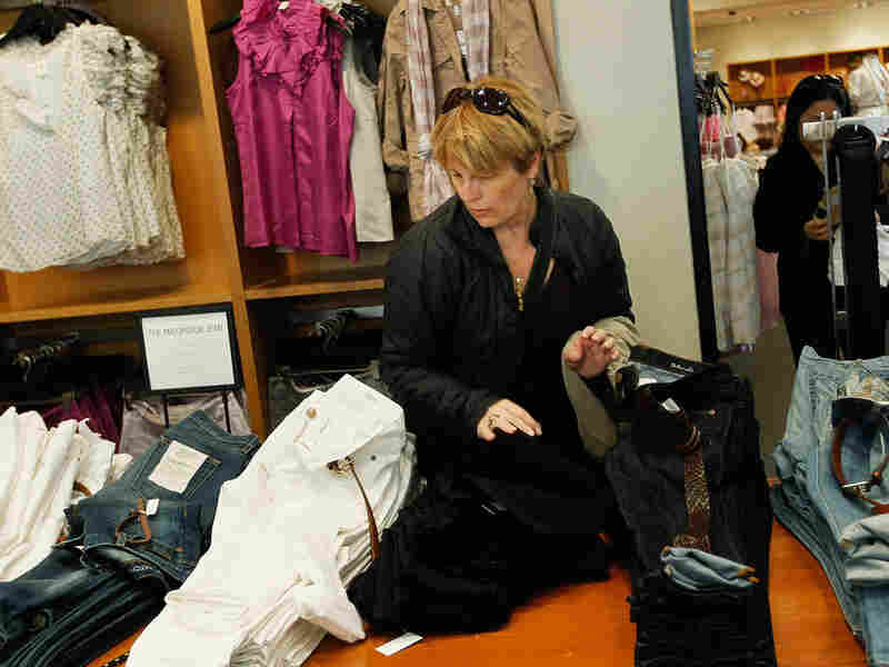 A woman shops at a clothing store in midtown Manhattan in April.