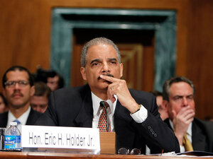 U.S. Attorney General Eric Holder testifies during a hearing before the Senate Judiciary Committee.