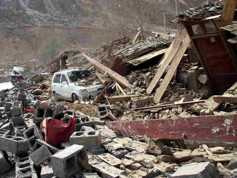 Rubble from the strong earthquakes in a mountainous Tibetan area of southwestern China