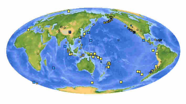 A USGS map showing global quakes that occurred within the past week
