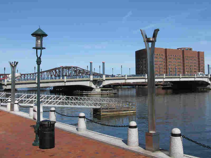 Modern-day Boston Harbor near the spot of the original Boston Tea Party.