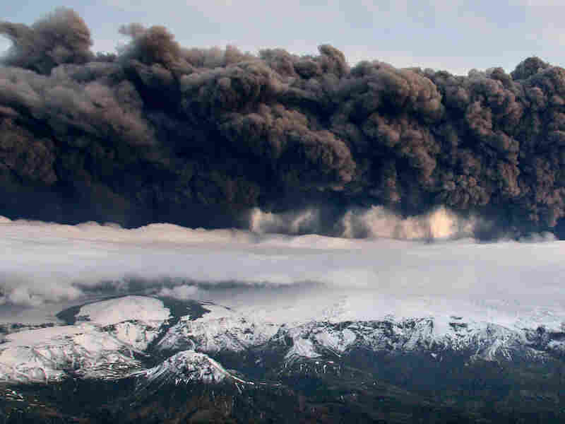 Smoke and steam hang over the Eyjafjallajokull volcano in Iceland.