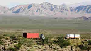 Traffic passes on Interstate 15 in the eastern Mojave Desert.