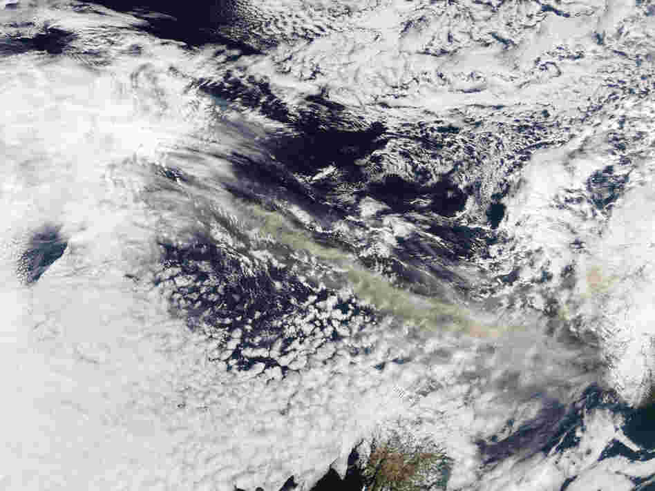 A satellite image shows an ash plume from the Icelandic volcano