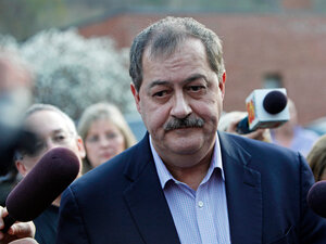 Massey Energy Co. CEO Don Blankenship speaks to reporters in Montcoal, W.Va.