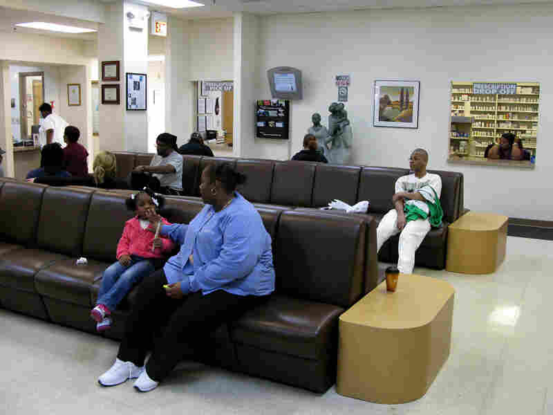 Waiting and reception area of Chicago's Booker Family Health Clinic.