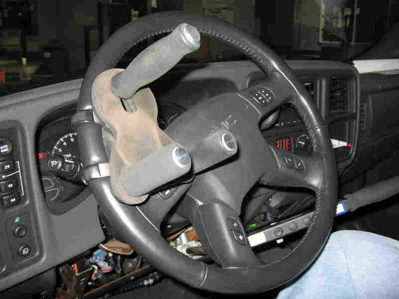 A specially designed steering wheel inside Steve Kitchin's truck.