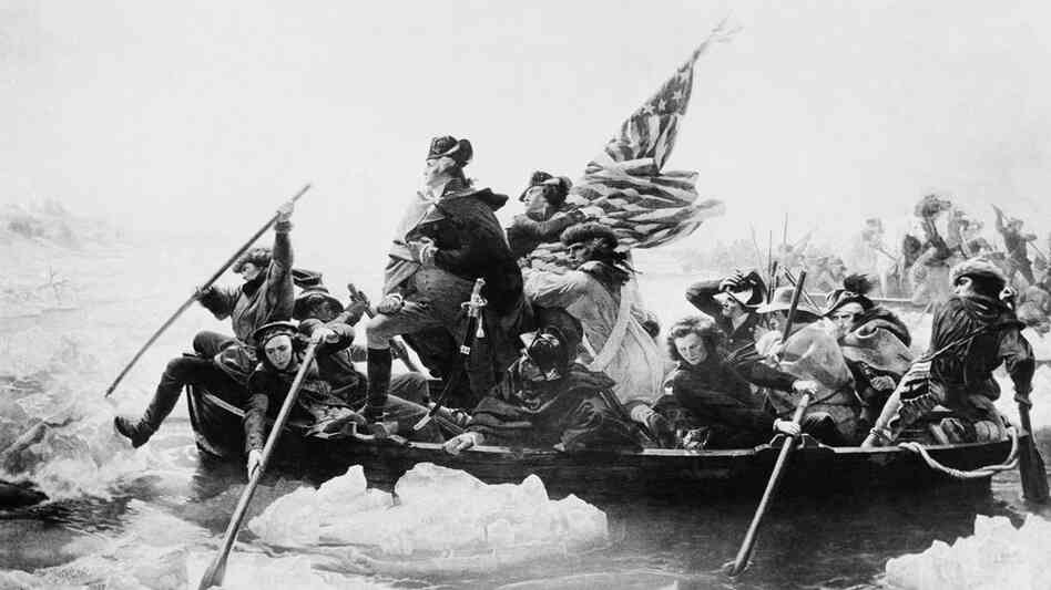 George Washington leads his troops across the Delaware River in 1776 during the