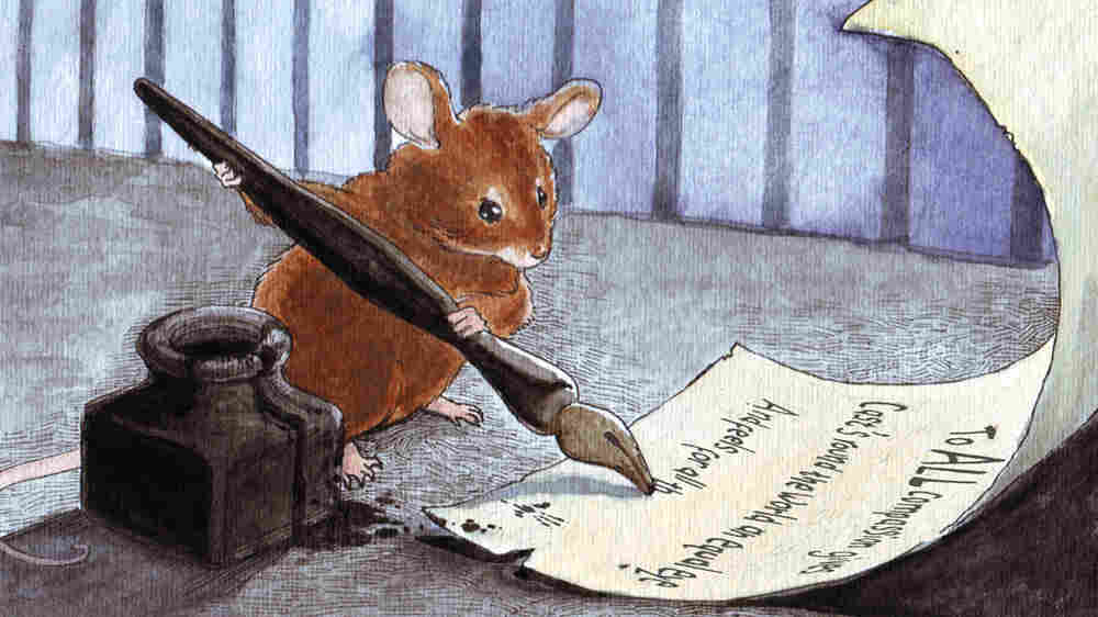 A painting of a mouse writing on parchment