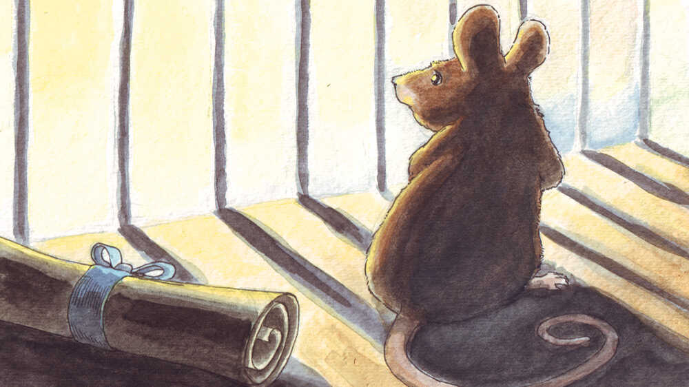 A worried mouse stares out the bars of his cage