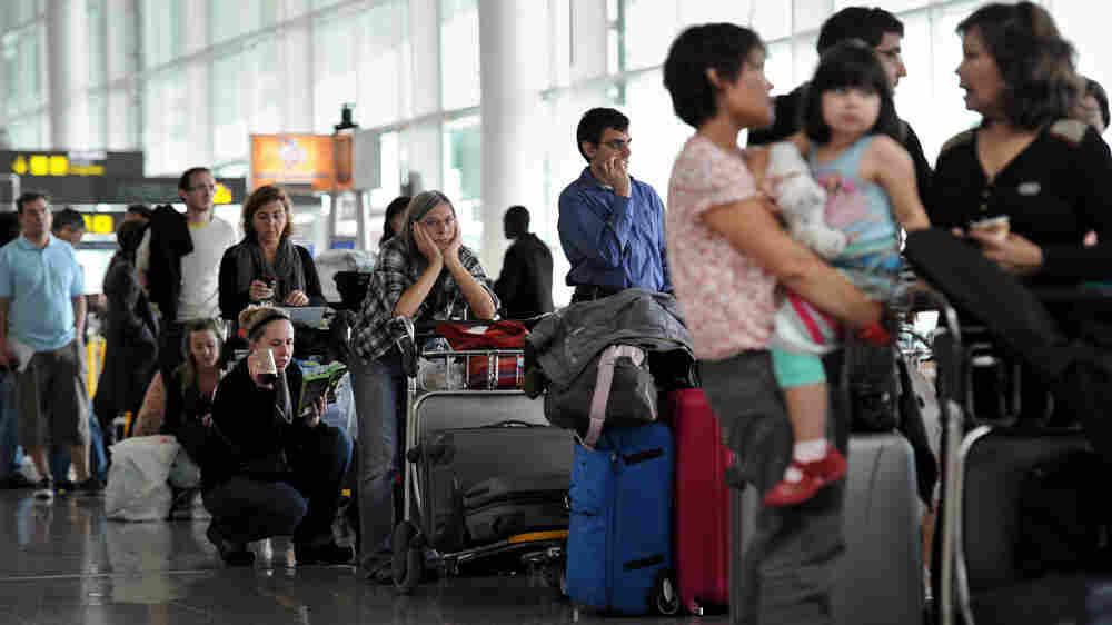 Stranded airline passengers in Barcelona, Spain