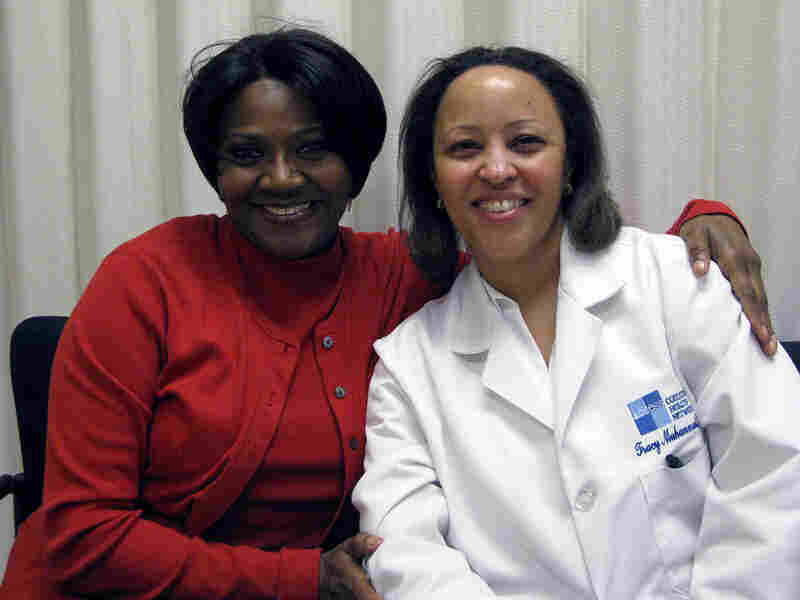 Laura Walls (left), an unemployed actress, with Dr. Tracy Larkins Muhammad