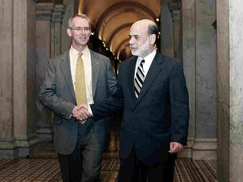 Rep. Bob Inglis (R-SC) (left) greets Federal Reserve Chairman Ben Bernanke at the Capitol in 2008.