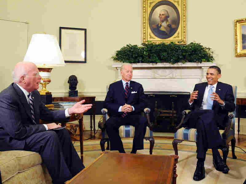 Vermont Democrat Patrick Leahy (left) met with President Obama and Vice President Biden.