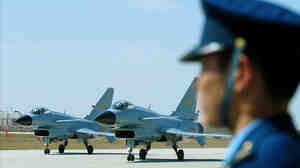 Chinese J-10 fighter jets at Yangcun airbase in Tianjin