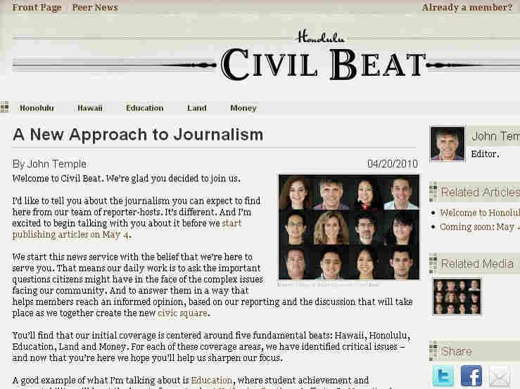 The 'Honolulu Civil Beat' website