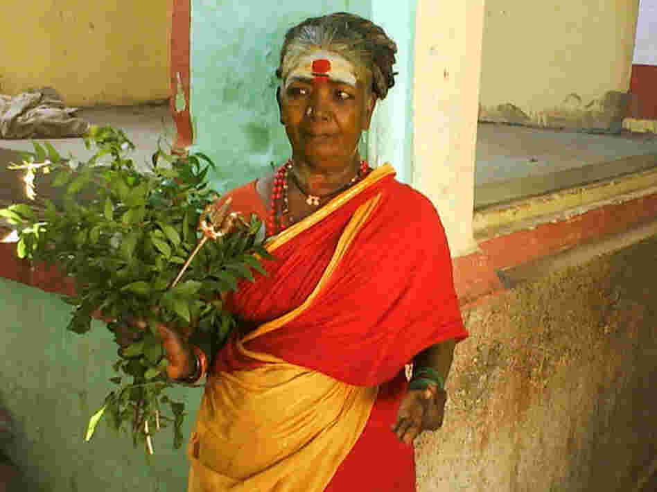Resident exorcist Muthalama at Hanumanthapuram Temple in rural Tamil Nadu, India.