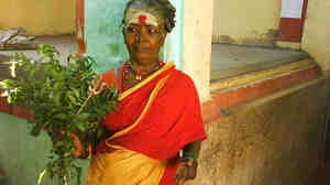 Resident exorcist Muthalama at Hanumanthapuram Temple in rural Tamil Nadu, India.