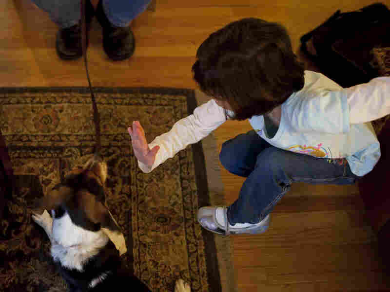 "Isabelle practices training the family dog, ""Betsy,"" with her dad."