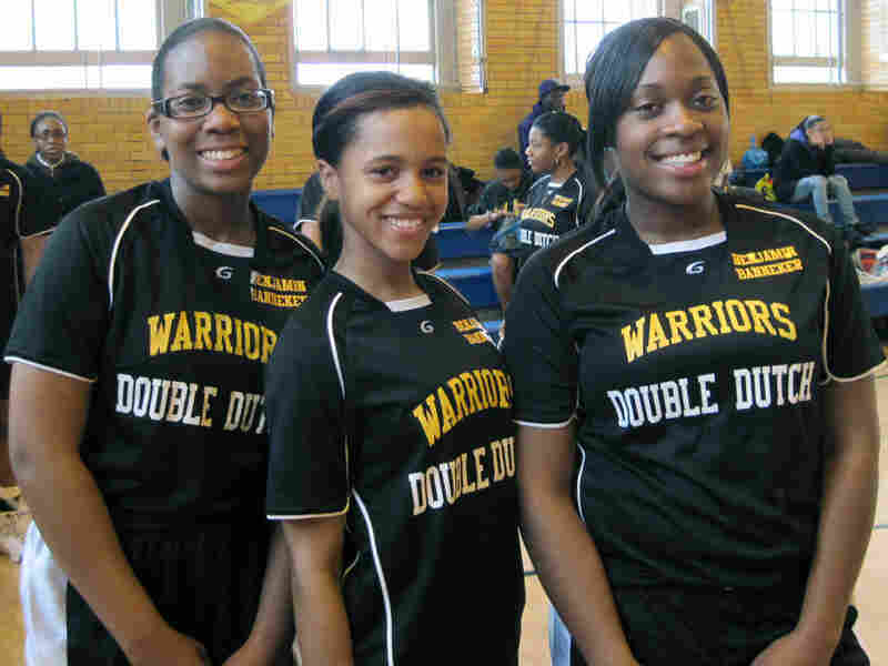 Winsome McIntosh, Leilani Rhodes and Nacadia Facey of Benjamin Banneker High in Brooklyn, N.Y.
