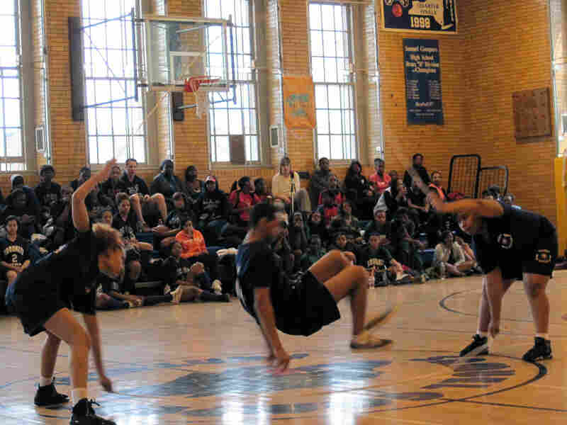 Peter Amaker, 17, and teammates compete in a double Dutch competition.