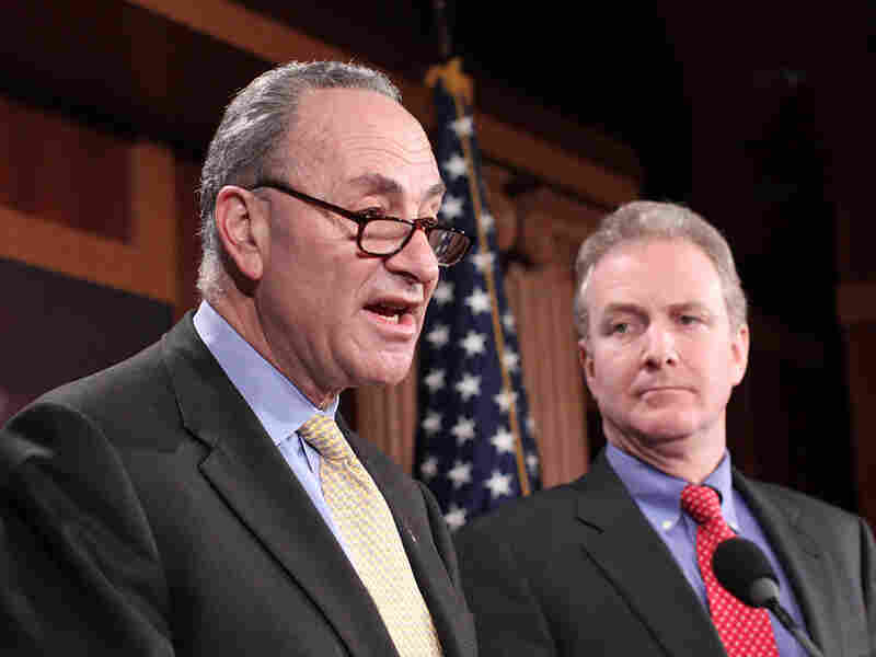 Charles Schumer (D-NY, left) and Rep. Chris Van Hollen (D-MD)