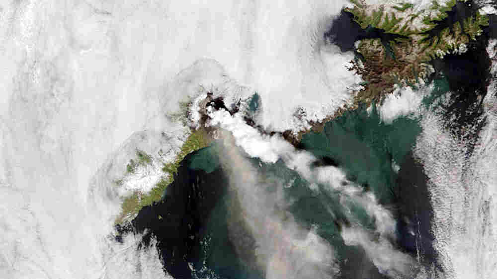 The erupting of the Okmok Caldera volcano on Umnak Island in Alaska