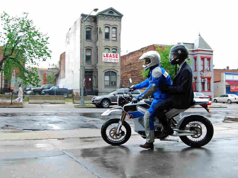 NPR's Guy Raz rides behind Zero Motorcycles' Neal Saiki on the 2010 Zero S. May-Ying Lam/NPR